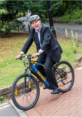 Paddy Tipping tries out Electric Bike
