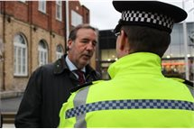 Speaking to an officer on walkabout in Worksop